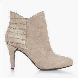 Express Suede Croc Tan Ankle Booties size 9